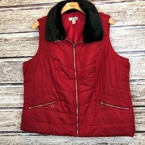 CJ Banks Red Puffer Vest w Faux Fur Collar 3X